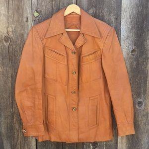 VTG 70s Butterscotch Leather Jacket, sz 38